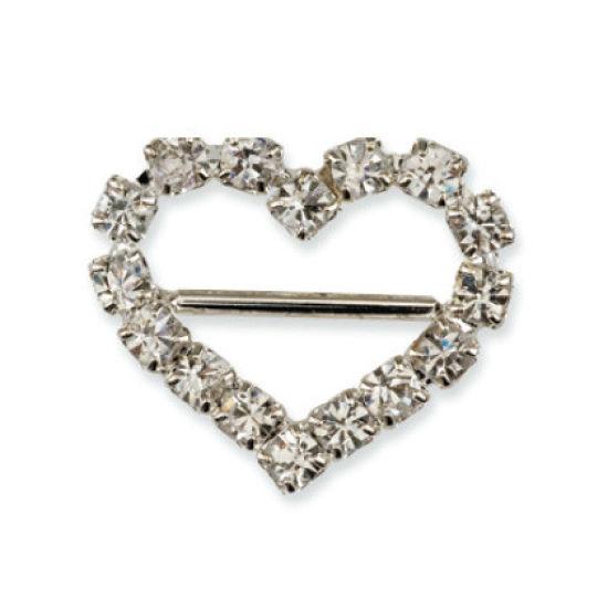 Small Diamante Heart Ribbon Buckle