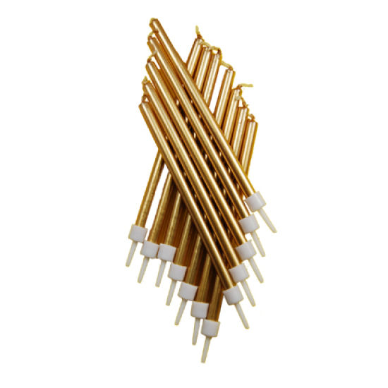 Long Gold Candles Pack of 12