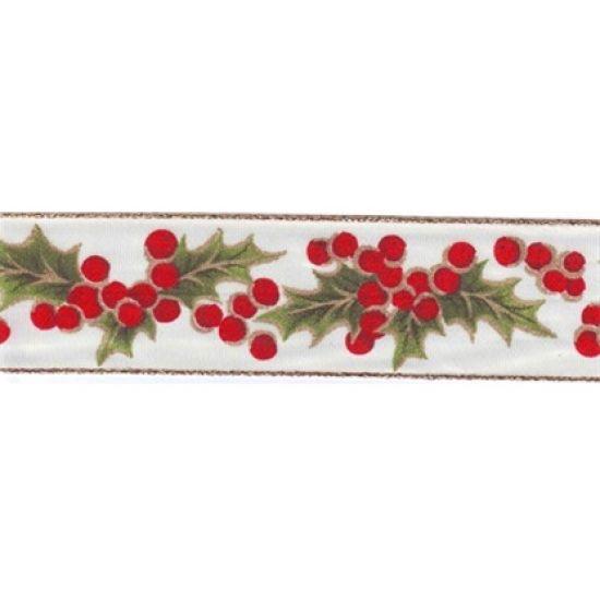 Cream Holly Berry Christmas Ribbon 40mm