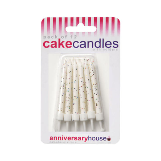 Glitter Candles Pack of 12 - White
