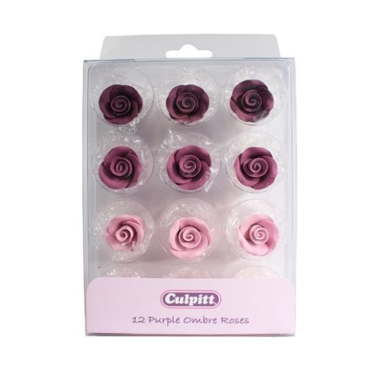 20mm Purple Ombre Sugar Roses- 12 piece
