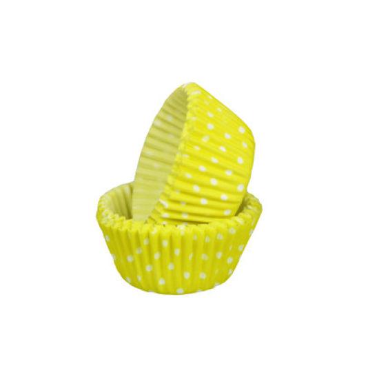 SK Mini Cupcake Cases Polka Dot Lemon Yellow Pack of 50