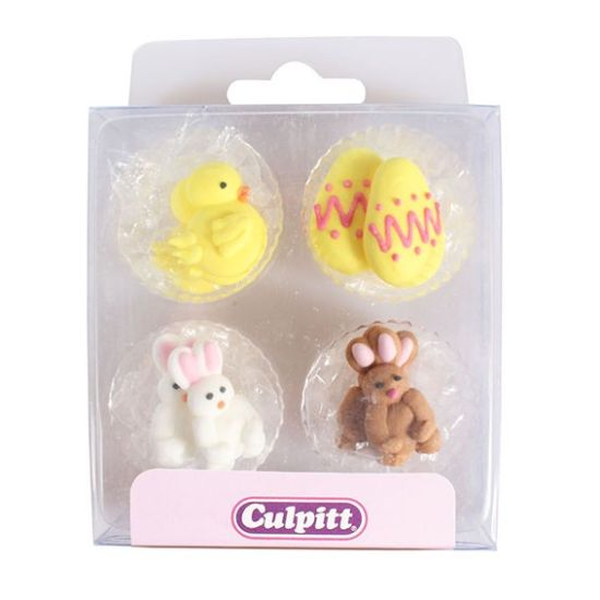 Chick, Egg & Rabbit Sugar Decorations Set of 12