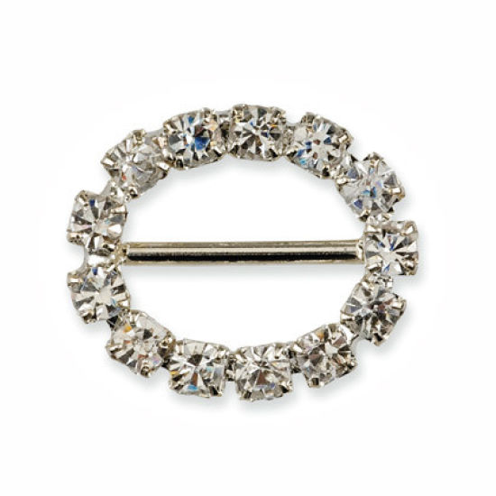 Small Diamante Oval Ribbon Buckle Pack of 10