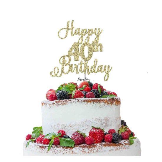 LissieLou Happy 40th Birthday Pretty Cake Topper Glitter Card Gold