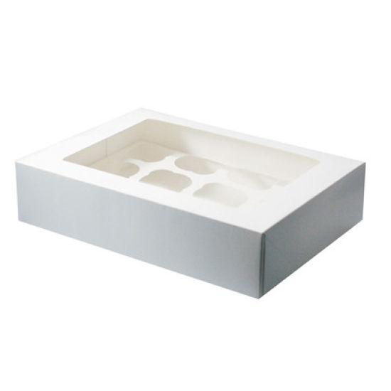White Cupcake Box - 12 Pieces