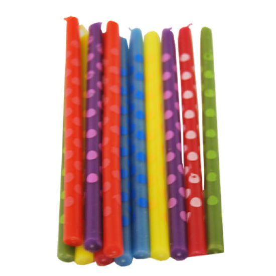 Polka Dot Candles Pack of 12 - Multicoloured