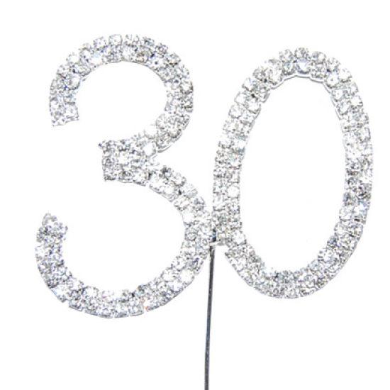 Diamante Number Cake Picks - 30