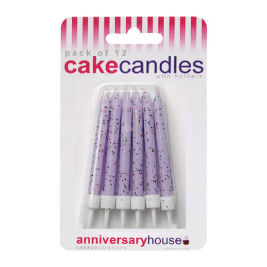Glitter Candles Pack of 12 - Lilac
