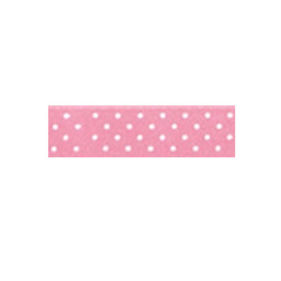 Dotty Satin Ribbon Pink 15mm