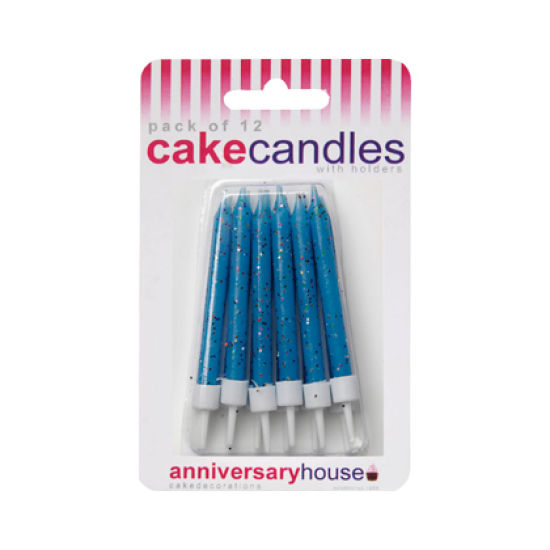 Glitter Candles Pack of 12 - Blue