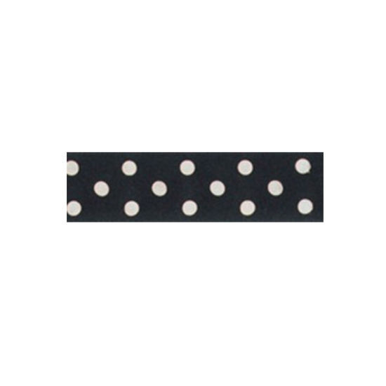 Dotty Satin Ribbon Black 25mm