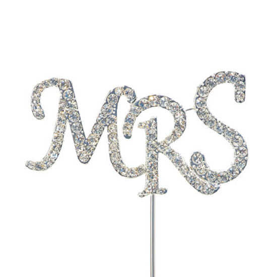 "Diamante Cake Pick ""MRS"""