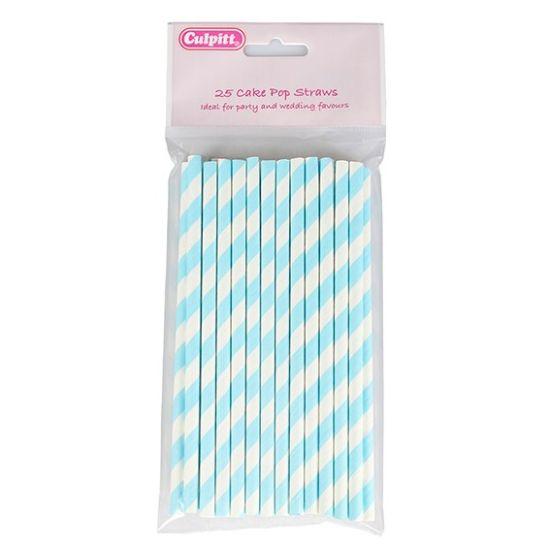Blue Candy Stripe Cake Pop Straws - Pack of 25