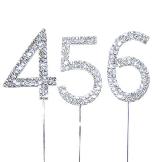 Diamante Number Cake Picks - 6