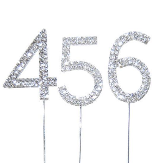Diamante Number Cake Picks - 0