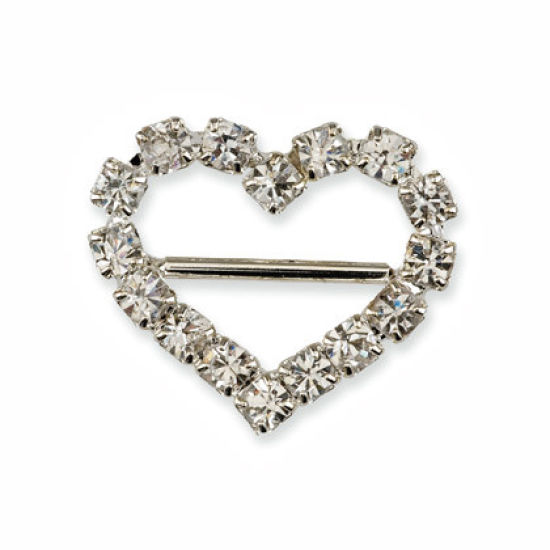 Small Diamante Heart Ribbon Buckle Pack of 10