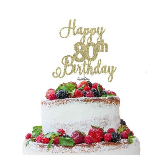 LissieLou Happy 80th Birthday Pretty Cake Topper Glitter Card Gold