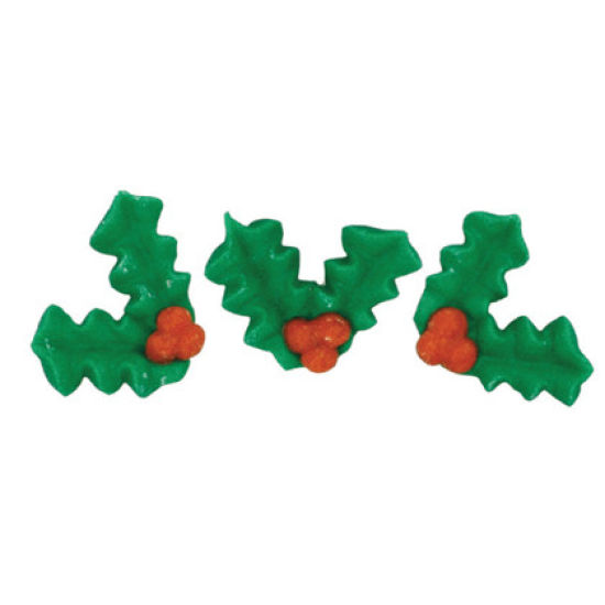 Holly and Berries Sugar Decorations set of 12