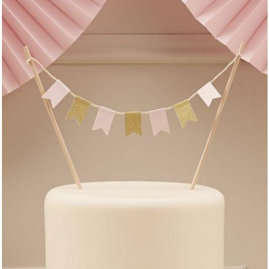 Pastel Pink & Gold Glitter Cake Bunting