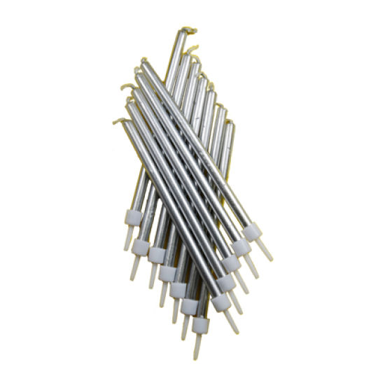 Long Silver Candles Pack of 12