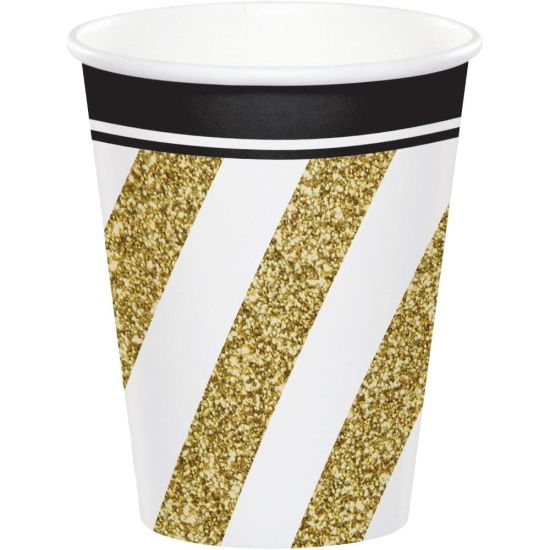 Party Paper Cups Black and Gold Pk 8