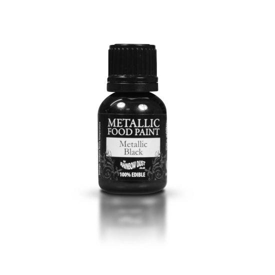 Rainbow Dust Metallic Food Paint - Metallic Black 25ml