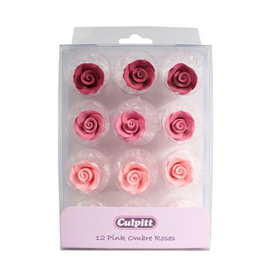 20mm Pink Ombre Sugar Roses- 12 piece