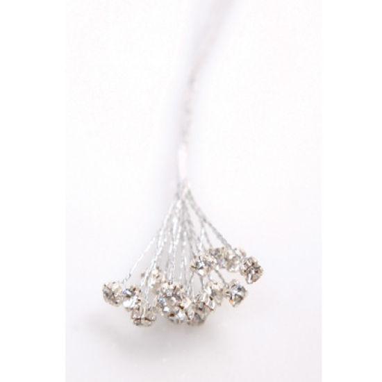 3 Diamante Crystals Per Silver Wire