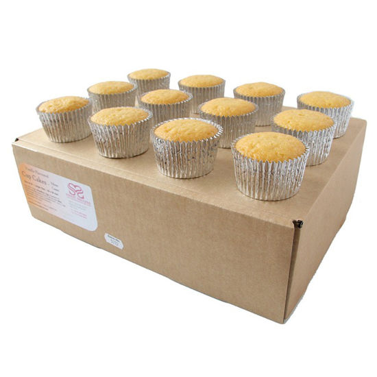 Ready to Decorate Vanilla Cupcakes 24 Large in Silver Cases