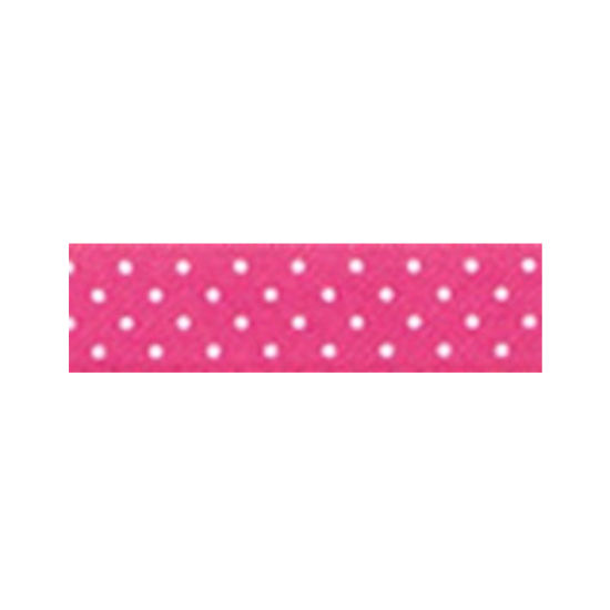 Dotty Satin Ribbon Hot Pink 15mm