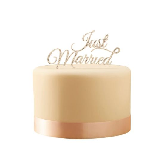 Sparkling Just Married Cake Topper
