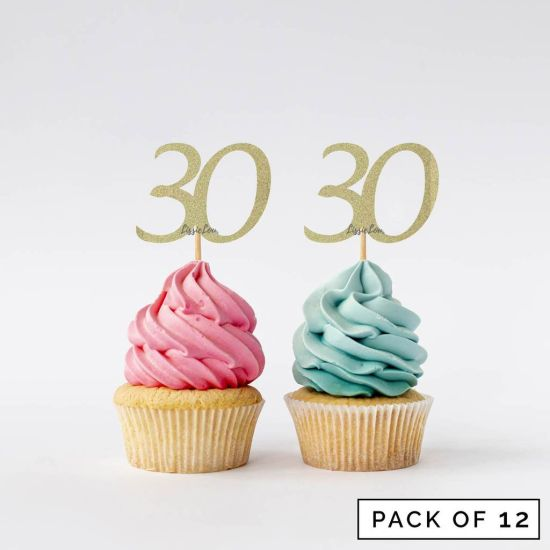 LissieLou Number 30 Cupcake Toppers Pack of 12 Gold