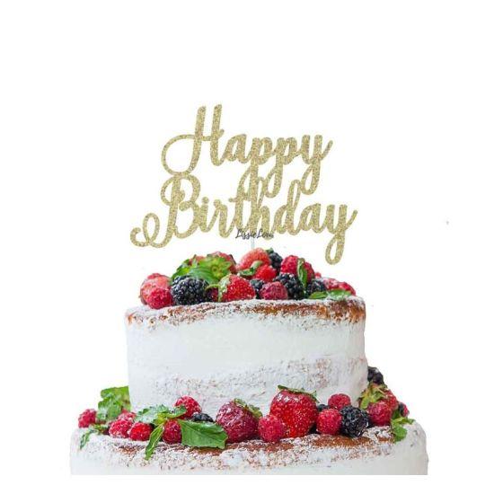 LissieLou Happy Birthday Pretty Cake Topper Glitter CardGold