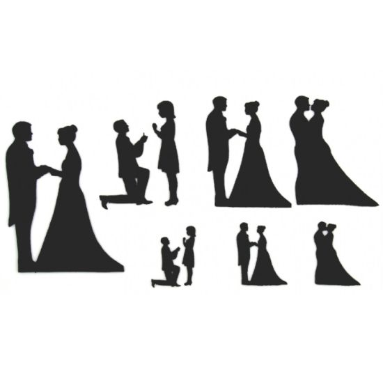 Patchwork Cutter & Embosser Wedding Silhouettes Set