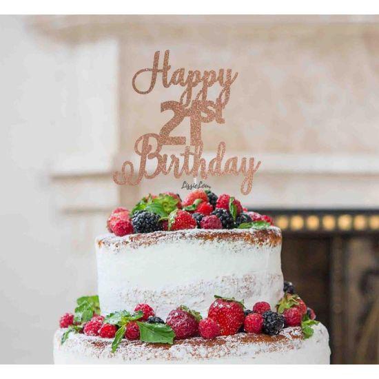 LissieLou Happy 21st Birthday Pretty Cake Topper Glitter Card Rose Gold