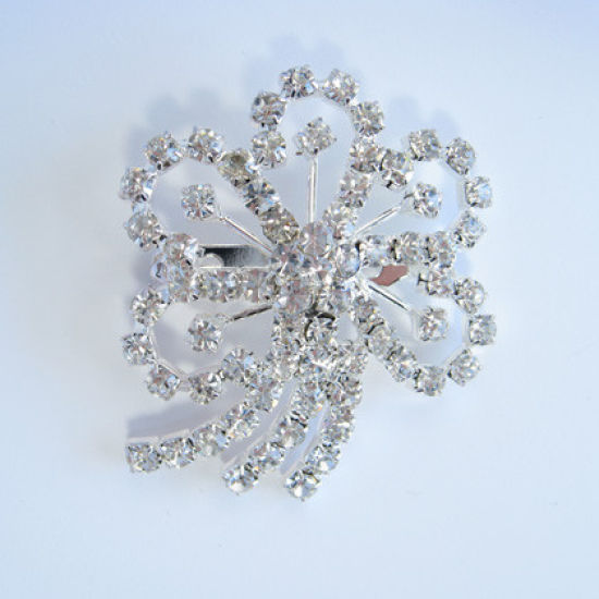 Large Diamante Flower Ribbon Buckle