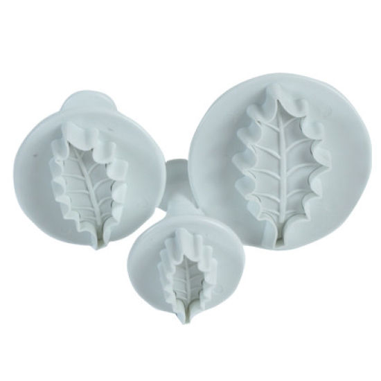 PME Veined Holly Leaf Plunger Cutters Set of 3