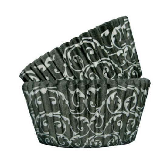 SK Cupcake Cases Baroque Black Pack of 36