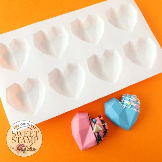 Sweet Stamp Cake Geometric Heart Mould Mini
