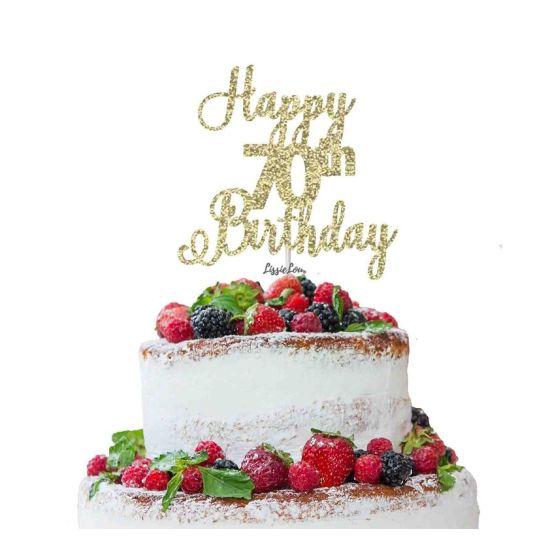 LissieLou Happy 70th Birthday Pretty Cake Topper Glitter Card Gold