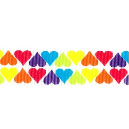 Bright Hearts Grosgrain Ribbon 25mm