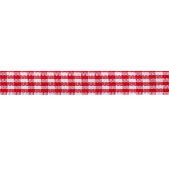 Red Check Ribbon 15mm
