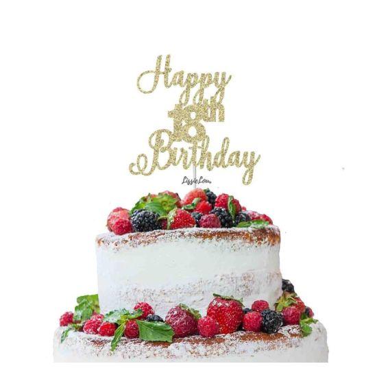 LissieLou Happy 18th Birthday Pretty Cake Topper Glitter Card Gold