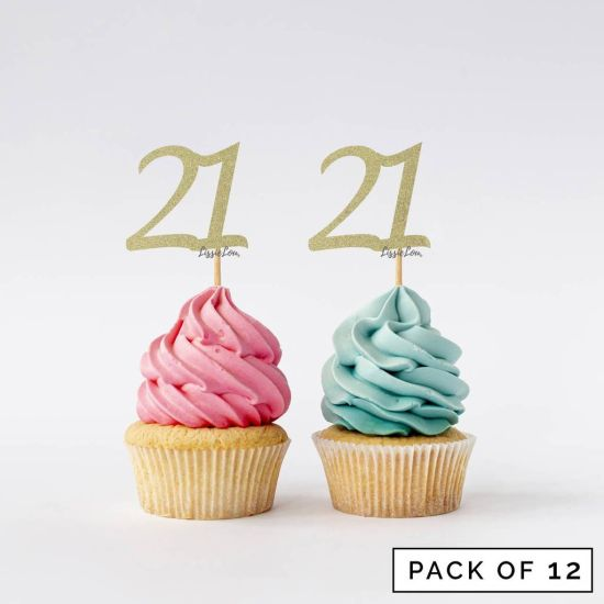 LissieLou Number 21 Cupcake Toppers Pack of 12 Gold