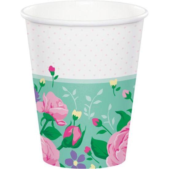 Party Paper Cups Floral Fairy Sparkle Pk 8