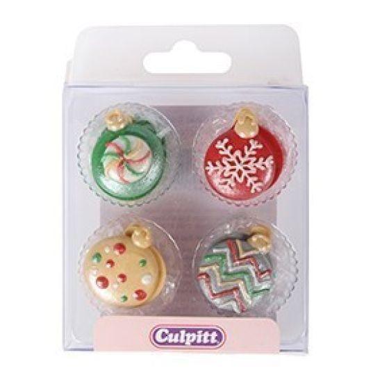 Christmas Baubles Sugar Decorations Set of 12