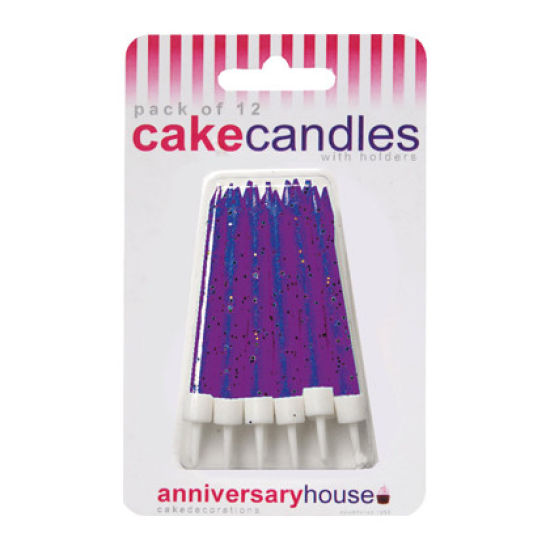 Glitter Candles Pack of 12 - Purple
