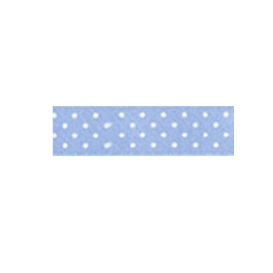 Dotty Satin Ribbon Baby Blue 15mm