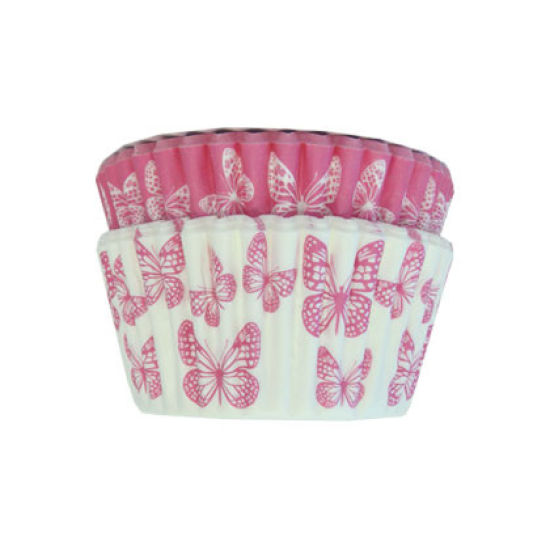 SK Cupcake Cases Butterfly Bright Pink Pack of 36